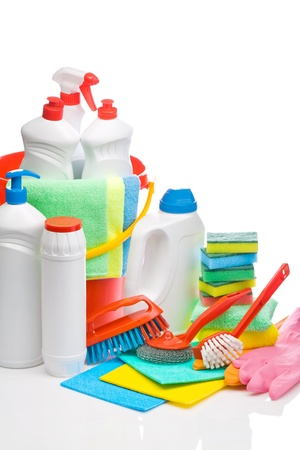 cleaning products: copyspace cleaning supplies composition