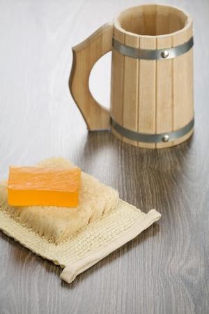 bathe mug: mug bast and soap Stock Photo