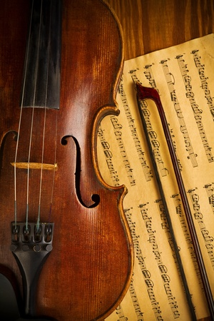 musical instrument parts: old used violin and note close up Stock Photo