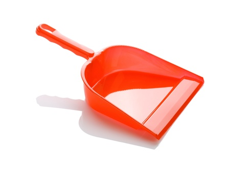 sanitizing: one red dustpan Stock Photo