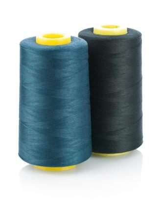 rolls of dark string isolated