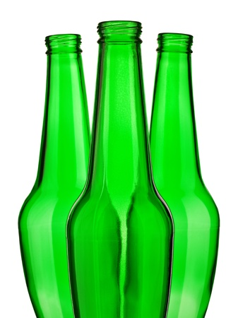 top of green beer bottle isolated photo