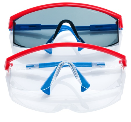 twee veiligheids bril geà ¯ soleerd