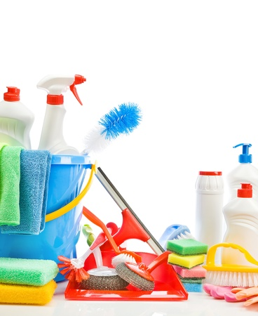 household objects equipment: copy space image of cleaning accessories Stock Photo