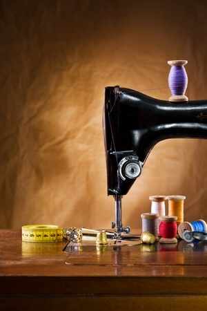 sewing machines: copy space view on the sewing accessories Stock Photo