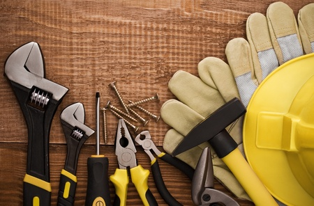 Copy space Working Tool On wood background  photo