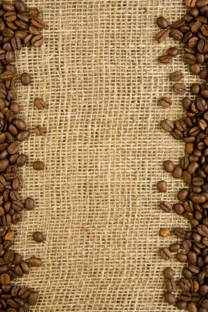 beverage in bean: frame of coffee beans on a sacking
