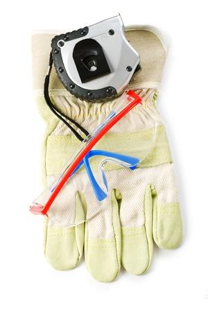 yardstick: gloves safety glasses and yardstick