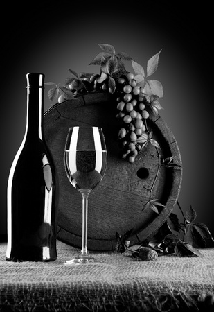 grayscale: grayscale wine composition Stock Photo