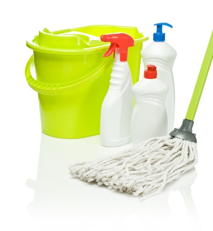 disinfect: green mop and bucket with bottles