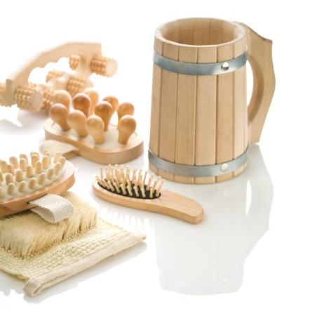 bathe mug: group of bath accessories isolated