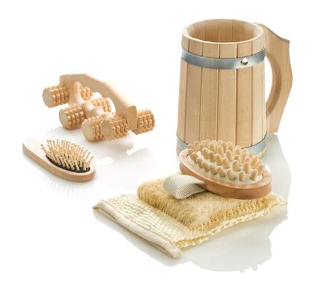bathe mug: group of bath accessories Stock Photo