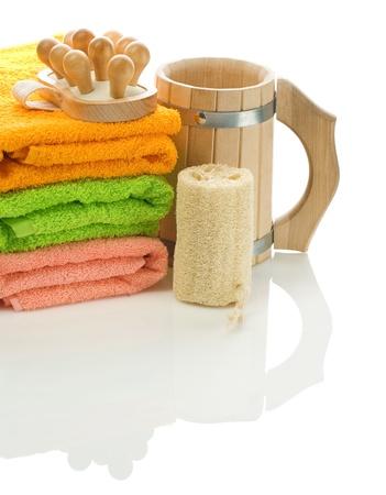 bathe mug: isolated set for bathing Stock Photo