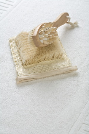 massager: massager and bast on towel Stock Photo