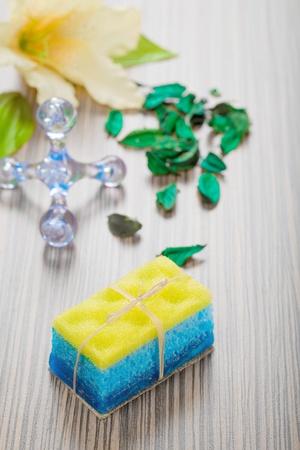 sop: massager sponge sop flower and petals Stock Photo