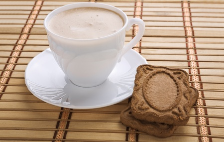 mug with capuchino and cookie on a mat Stock Photo - 11493731