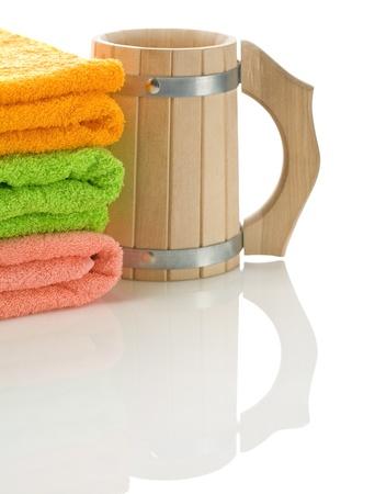 bathe mug: mug with towels