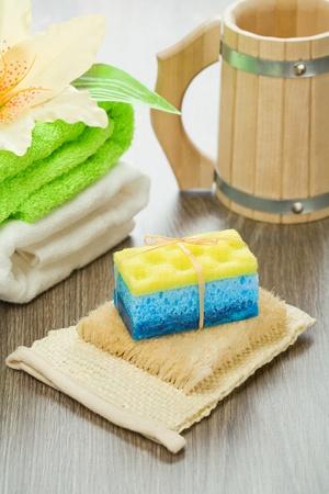 bathe mug: objects for bathing on wooden background
