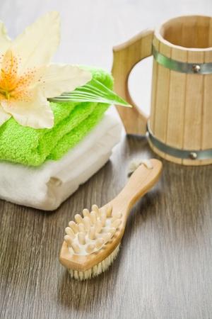 bathe mug: set for bathing on wooden background Stock Photo