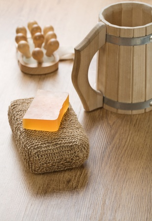 bathe mug: set for bath Stock Photo