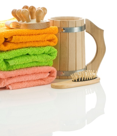 bathe mug: towels with wooden objects