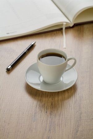 writing materials: writing materials with coffee