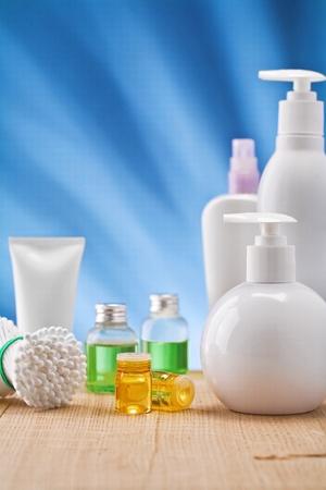 scincare: scincare items on blue background