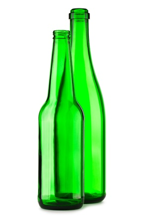 reprocess: two empty green bottle isolated