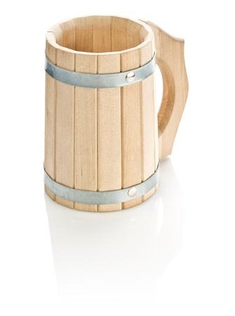bathe mug: wooden mug isolated