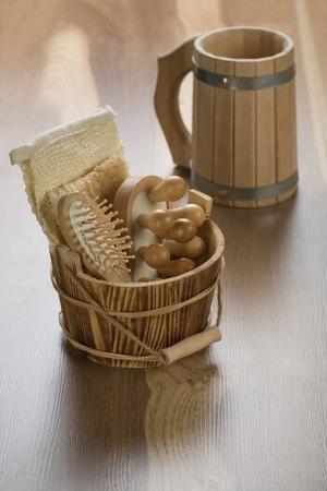bathe mug: wooden mug with bucket Stock Photo