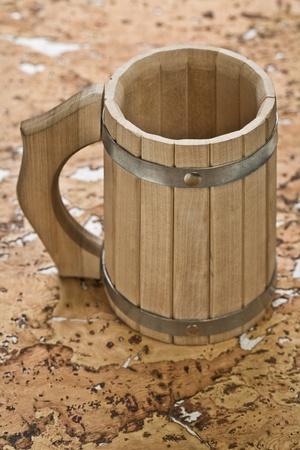 bathe mug: wooden mug Stock Photo