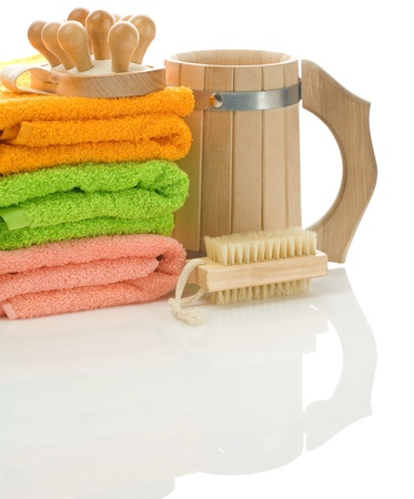 bathe mug: wooden objects with towels