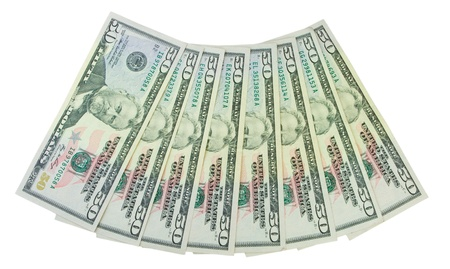 fanned: fan of dollars isolated Stock Photo