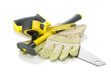 tapeline: Gloves, tapeline, saw and hammer