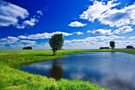 lake on a field Stock Photo