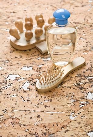 massager: massager hairbrush and bottle