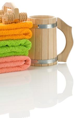 bathe mug: mug and massager with towels
