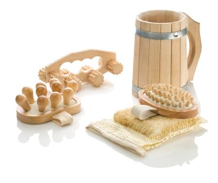 bathe mug: objects for taking bath Stock Photo