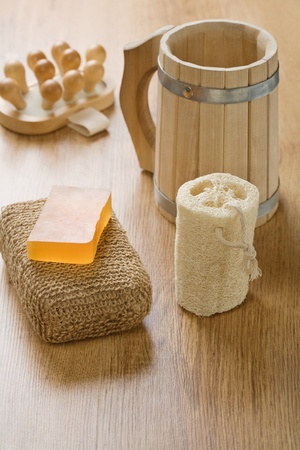 bathe mug: set for taking bath Stock Photo