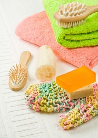 orange washcloth: set of colored bath accesories