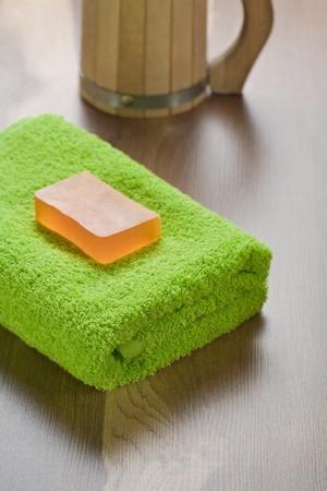 bathe mug: soap on towel with mug