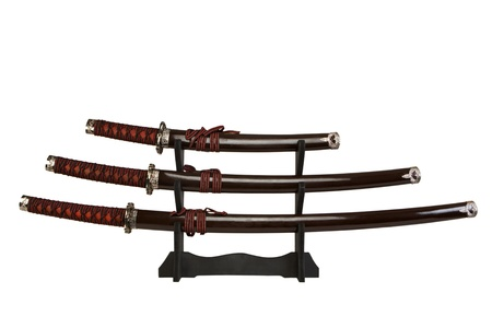 scabbard: espadas en un soporte Foto de archivo