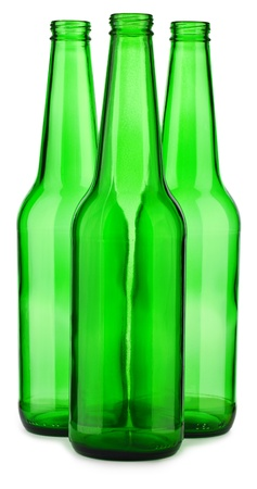 three green bottle isolated photo