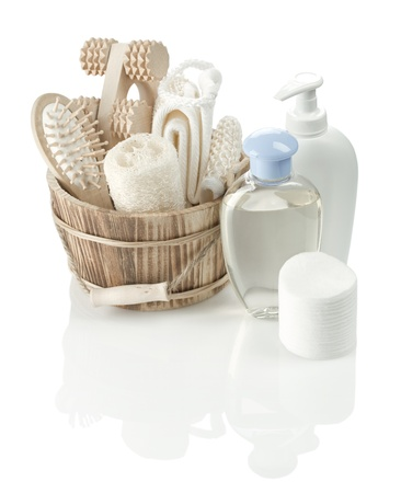 toiletry: toiletry articles and wooden bucket