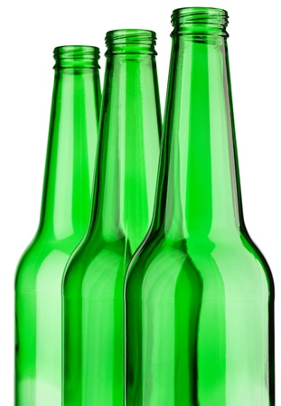 top of three green bottle isolated photo