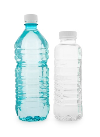 colourless: Botellas transparentes de color turquesa e incoloro con agua Foto de archivo