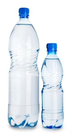 two blue plastical bottle with water isolated on a white background Stock Photo - 11526333