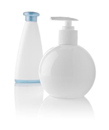 basic care: white plastical bottles isolated