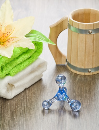 bathe mug: accessories for bathing on wooden background