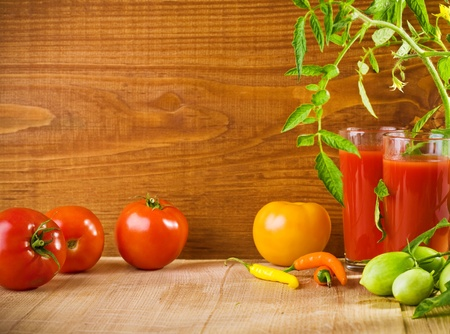 composition of tomatoes and juice photo